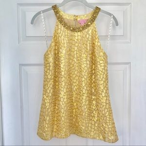 Lilly Pulitzer Tops - Lilly Pulitzer Beaded Gold Halter Top